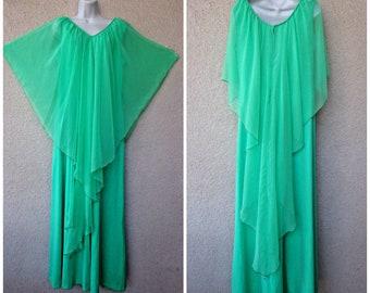 1970s DISCO Goddess DRESS. 1970s Formal Dress. 70s Prom Dress. 1970s Maxi Dress. Sheer Chiffon Overlay. Bridesmaid Dress. Green Prom Dress