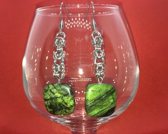 Chainmaille Earrings - Byzantine with Malachite - Stainless Steel