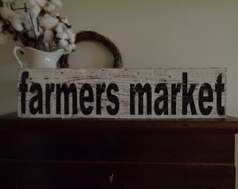 Reclaimed wood sign,30x7.25, Farmers Market Sign, Rustic Customized Sign, Farmers House Sign, Fixer Upper Sign