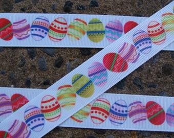 "Easter ribbon Easter Eggs Ribbon Printed Ribbon Easter Color Eggs Ribbon 7/8"" 3 yards Hair bow ribbon"