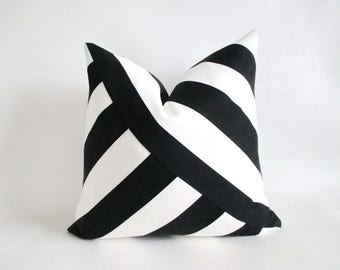 Pillow Cover Mitered Black & White Stripes Indoor Outdoor