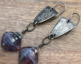 Embossed Sterling Silver and Flourite Earrings