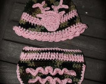 Pink camo baby set - camo newborn set - newborn pink camo baby set - baby girl camo diaper cover set - camo newborn diaper cover