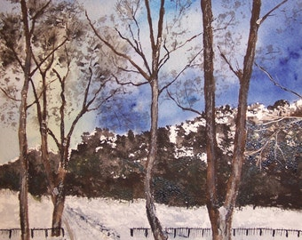 """watercolor painting,""""NIGHT WALK""""- scenic , winter painting, landscape painting, painting at night,10.5""""x 7.5"""", moonglow, painting of trees"""