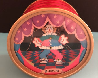 Ikecho, Music Box, 1980s, dancing clown, Dancing clown, Vintage, 70s, 80s, the entertainer, musical boxing, dancing clown Music Box
