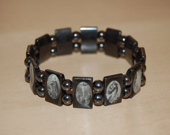 Saints Bracelet,Catholic Christian Bracelet,Magnetic Hematite Beads Bracelet,Jesus,Mary,Angels,Saints,Man ,Woman,Stretch