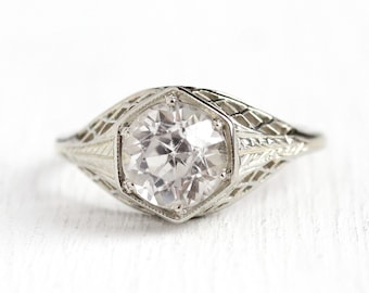Filigree Engagement Ring - 2.29 CT Created White Sapphire 18k White Gold - Vintage Size 7 1/2 Alternative Colorless Fine Wheat Jewelry