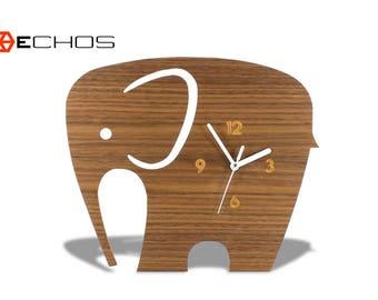 Safari Animal Elephant Kids Wall Clock