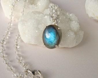 Labradorite Necklace Silver Handmade Beaded Blue Labradorite Boho Necklace Iridescent Jewelry