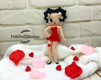 Betty Boop Doll. Felt Doll. PDF pattern and tutorial.