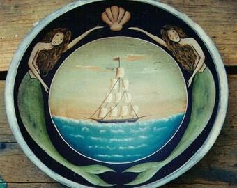 MERMAID Schooner Ocean Folk Art E-Pattern by Donna Atkins. Keepers of the Sea. DIY Painting Craft.