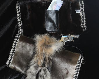 Alpaca and recycled fur muff