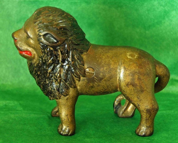 Reduced Antique Vintage LARGE LION A C Williams STILL Bank Old Scarce Cast Iron C 1905-1931 No repairs Original screw Exc As Found Condition