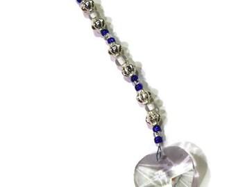Ornament Love HEART Crystal Sun Catcher Ornament 30mm Dark Blue Beads Rainbows Feng Shui