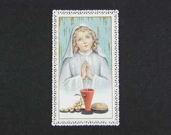 Lace holy card, vintage French religious image, Canivet, stunning first communion image