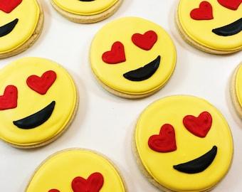 Emoji Custom Sugar Cookies! Heart-eyes / love themes cookies. Priced per dozen!