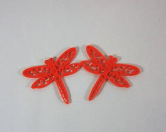 Embellishments/applique/subjects felt orange dragonflies