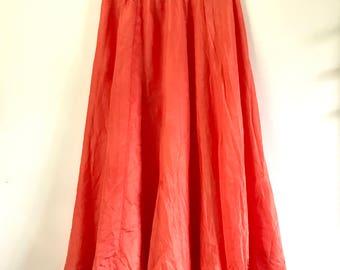Silk Maxi Skirt. Orange Long Skirt. Silk Maxi Skirt. High Waisted Skirt. Women Skirts. Handmade Skirt. Floaty Skirt. Skirts. Orange Skirt