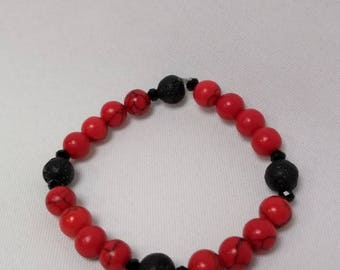 Essential Oil Diffuser Bracelet of Red Turquoise, Lava Rocks & Crystal Accents