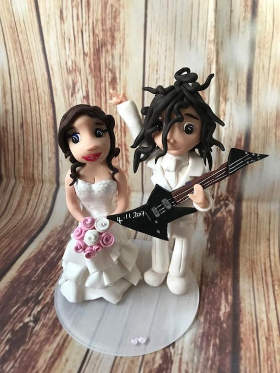personalised guitar/Music/Rock bride and groom clay Wedding Cake Topper highly detailed and fully sculpted Keepsake - Bespoke Premium Servic