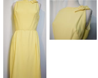Buttercup Yellow 60s Wiggle Dress with Yellow Rosette