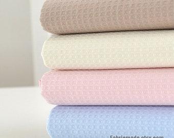 Pink Blue Browm WAFFLE Cotton Fabric, Waffle Weave Fabric, Waffle Check Fabric Cotton- 1/2 yard