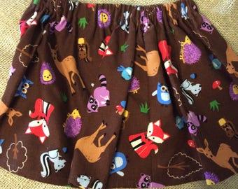 Curduroy Fall Woodland Fox Owl Deer Toddler Skirt