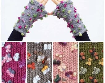 Knitted  fingerless winter  gloves flowered grey  & COLOR OPTION AVAILABLE
