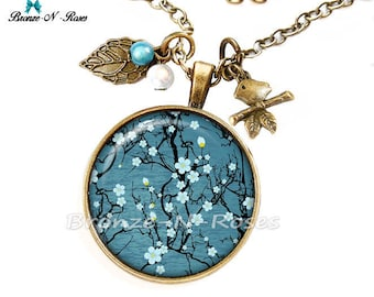 Necklace * Sakura flowers Japanese * fantasy blue gem cabochon