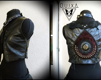Leather vest, gypsy vest, leather vest, ethno, Goaweste, tribe, tribal vest, gothic vest, Larp vest, steampunk, vest lacing