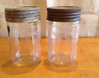 Set of Two 1/2 Quart Size CROWN Sealer JARS. Made in CANADA. Wonderful Vintage Condition. Signed 1947 and 1948.