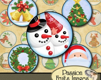 Cute Christmas Bottlecaps 1 inch Rounds Digital Collage Sheet--Instant Download