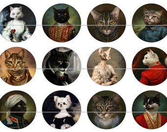 """Cat Magnets, Cat Pins, Victorian Cat Magnets, Dressed Victorian Cats, 1"""" Flat, Cabs, Hollow Backs, 12 ct"""