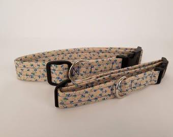 Blue Flowers Dog Collar