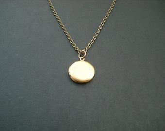 Locket Necklace, Antique Brass Vintage Mini Locket Necklace