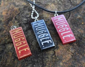 Muggle Harry Potter-Inspired Stamped Pendant Necklace - Red or Black