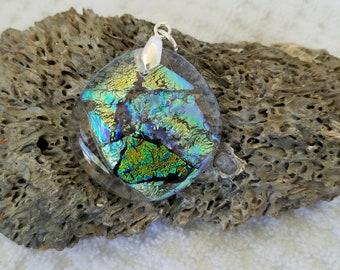 Hidden Landscape Dichroic Glass Reversible Pendant