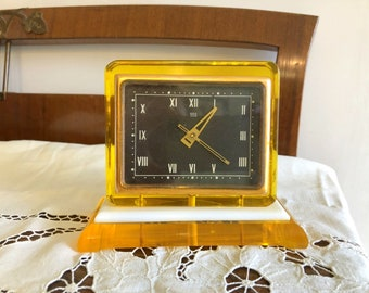 Soviet Clock Molnija. Vintage Mechanical Desk Clock USSR the 1960s. Yellow Plexiglass case.