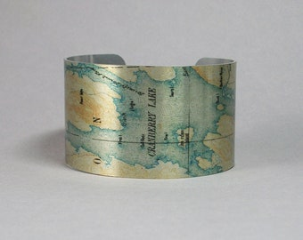Cuff Bracelet Cranberry Lake Adirondacks Upstate New York Vacation Gift for Men or Women
