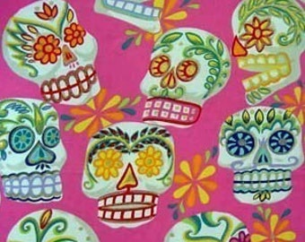 Alexander Henry Fabric Calaveras Pink Bkg Larger Print with Gold Glitter 1 yard