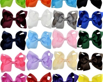 """4"""" Hair Bows, 20 Colors, Choose Your Colors, Toddler Hair Bows, Girls Hair Bows, Grosgrain Ribbon Hair Bows, 4 inch Hair Bows, Hair Clips"""