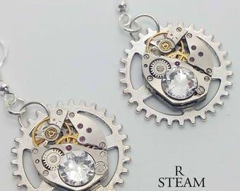 Clear Swarovski Crystal Steampunk Watch mechanism Earrings - Steampunk Jewelry by Steamretro -Christmas gift - steampunk - earrings - gothic