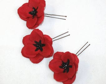 Red Poppy Hair Pins Flower Hair Pin for weddings Handmade Poppy Hair Pin for Festival Hair Flowers