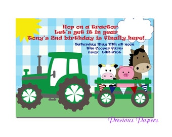 Digital Farm birthday invitations Tractor Birthday Party Invitations Tractor Printable Download within 24 hours
