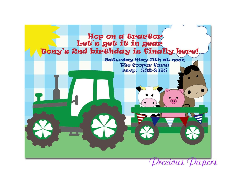 Digital Farm birthday invitations Tractor Birthday Party