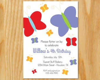 Butterfly Invitation- Butterfly Party Invitation- Butterfly Invitation- Butterfly Invite- Butterflies Invitation