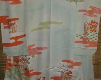 SALE FURISODE Vintage Japanese Rinzu Silk Kimono Flower Carts Patterned Mon Kinsha Silk Vintage Japanese Furisode Pale Green Silk Kimono