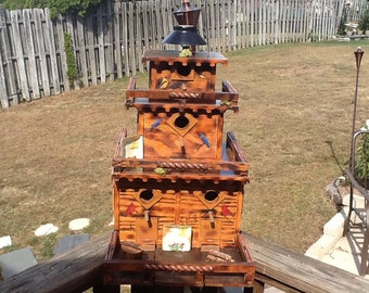 Handmade exterior plywood 3 tier 4 home bird house beautifully accented