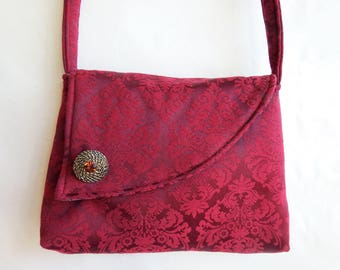 Fabric Purse handmade Shoulder Bag with cross body strap made of recycled materials by Cant Have Enough