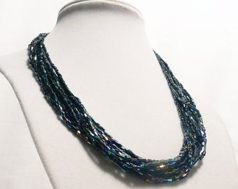 Midnight Blue Iridescent Multi-Strand Necklace and Earrings, seed bead necklace, iridescent necklace, blue sequins, reclaimed
